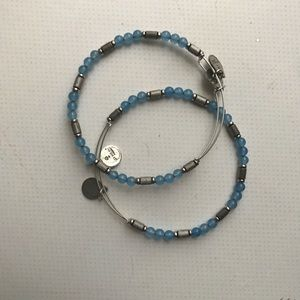 Alex and Ani Blue/Silver Beaded Bangle (set of 2)